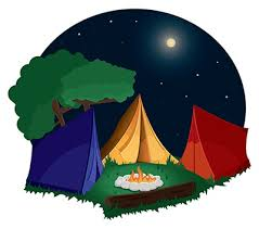 Camp Fire and Tents