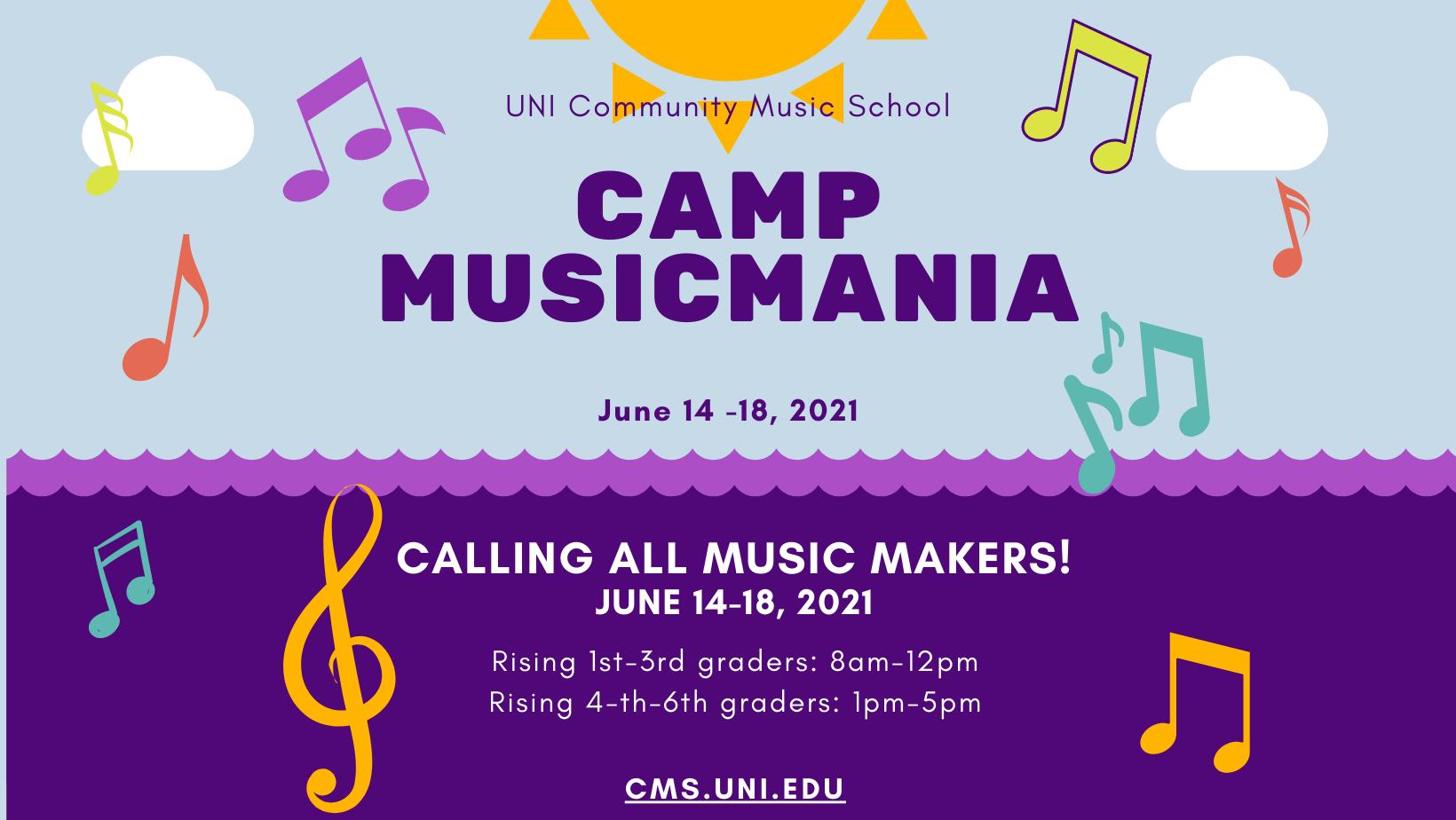 Camp Musicmania, June 14-18, 2021
