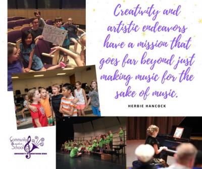 Music quote and pictures of kids making music