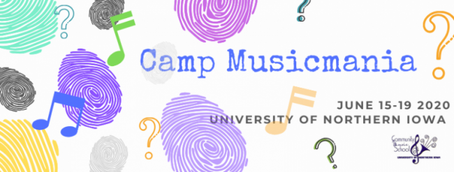 Camp Musicmania June 15 - 19, 2020