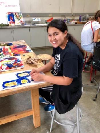 girl in art class